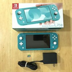 Nintendo Switch Lite Turquoise W/ Box Charger And 32gb Sd Card Tested Cleaned
