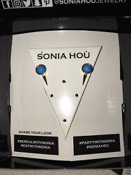 Sonia Hou Fire 3-way Turquoise Gemstone 24k Gold Plating Earrings Jackets New