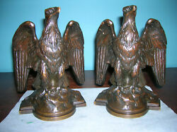 Best Antique Eagle Bookends Griffoul Foundry Max Peinlich Solid Bronze 1913