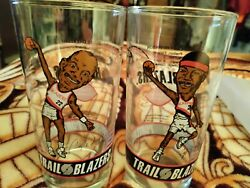 Clyde Drexler And Cliff Robinson Portland Trail Blazers Dairy Queen Glass 91-92