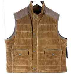Roundtree And Yorke 2xb Nwt Brown Suede Leather Vest Big Man Zip Up Button Snap