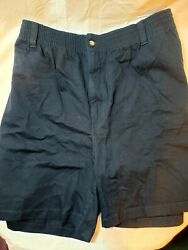 Mens 3xl Casual Male Big And Tall Harbor Bay Navy Blue Shorts, Elastic Waste, New