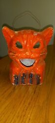 Antique Halloween Paper Mache Cat On Fence Trick Treat Wire Bail Candy Holder
