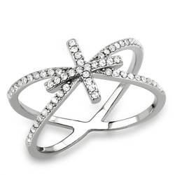Ladies Cross Ring Bow Cz Stainless Steel Elegant Pretty Silver Pave All Size353