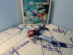 Vintage Hubley Kiddie Toy Airplane Fighter Bomber 495 First Edition With Box.
