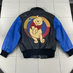 Rare Disney Winnie The Pooh 100 Acre Collection 100 Leather Jacket Medium Youth