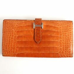 Hermes Beams Self 2 Folded Purse / Leather Wallet Pande Pis P Chain Silver B