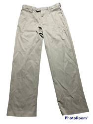 Croft And Barrow Mens Brown Classic Fit Casual Flat Front Pants Size 32 X 30