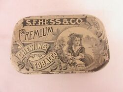 Vintage Advertising Empty S F Hess And Co Flat Pocket Tobacco Tin   700-j