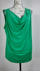 Liz Claiborne Women's Blouse Size 1x V-neck Green Sleeveless Relaxed Fit Casual