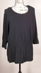 alfani Women's Blouse Size 12 Black Crew Neck Long Sleeve Relaxed Fit Casual