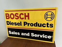 Rare Bosch Diesel Products 16x26 Embossed Single Sided Metal Sign Usa Dealer Vw