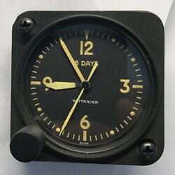 Wittnauer 11 Jewel Cal 63 A-11 Aircraft Clock Yellow Dial Numbers Hands