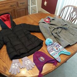 Lot Of 2 Girls Coats Plus Frozen Hats And Gloves, Size 6 And Size 8