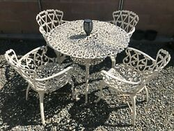 Vintage Wrought Iron Patio Set Table And 4 Chairs