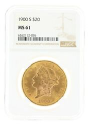 1900-s Double Eagle Ngc Ms61 20 Liberty Head San Francisco Minted Coin