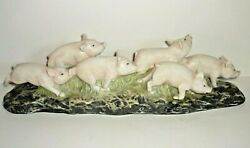 Vintage Enesco Forever Nature By Fred Aman 6 Pigs Sculpture 541 Of 5000 E 1437