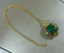 Antique 800 Silver Etruscan 3 Sided Charm Fob Green Stones On 20 12k Gf Chain