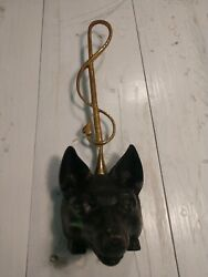 Vintage Cast Iron Fox Head With Attached Brass Riding Crop Door Stop