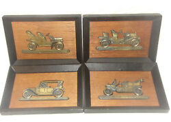 Vintage Brass Plaques Antique Cars 4pc Set Ford Model T Cadillac Buick Chevrolet