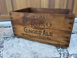 Vintage Wooden Soda Crate Roxo Ginger Ale Waukesha Wisconsin Advertising Box
