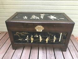Antique Japanese Solid Wood Chest Carved Mother Of Pearl Art Brass Lock And Key