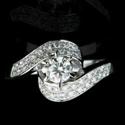Genuine Solitaire With Accents 1.3 Ct Diamond 18k White Gold Engagement Ring Nwt