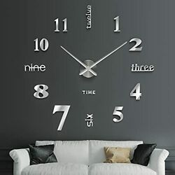 Wall Clock for Living Room Decor Large Modern Wall Clock for Blank Wall Silver