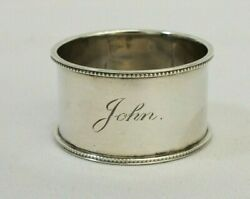 Antique 1900 Sterling Silver Charles Humphries Monoand039d John Beaded Napkin Ring