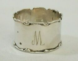 Antique 1946 Sterling Silver Walker And Hall Monogramed M Scalloped Napkin Ring