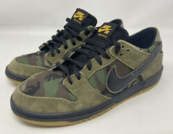 Nike Dunk Low Pro Sb Zoom Camo Olive Green 854866-209 Size Us 10 Gum Bottoms