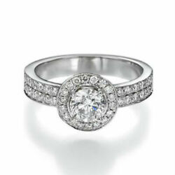 Authentic 1.6 Ct Solitaire Round W Accents Diamond 14k White Gold Promise Ring