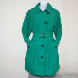 Mark And Spencer Green Jacket Mac Coat Size Uk14 Womens Belted Lightweight