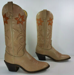 Acme Cowboy Boots Womens 6.5 B Tan Brown Leather Western Made In Usa Vintage