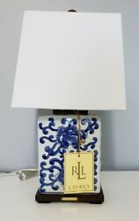 New Asian Blue On White Floral Porcelain Small Table Lamp And Shade