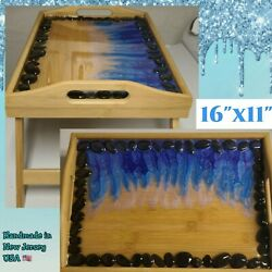 17 X 12 Epoxy Resin River Rock Bamboo Serving Dinner Tray Lap Folding Table