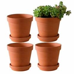 4 Pack Large 6'' Terra Cotta Plant Pot Large Terra Cotta Pots With Saucer Round