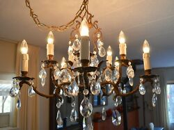 Brass And Crystal Chandelier Vintage Classic 10 Light Andoslash 26 Two Tiered 5 Arm