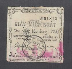 Vietnam South Vc 50 Dong Credit Note Unlisted 1950and039s