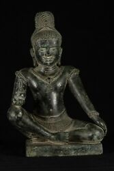 Antique Khmer Style Seated Bronze Shiva Statue With Kamandal - 40cm/16