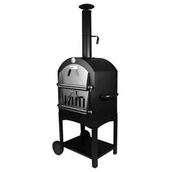 Outdoor Pizza Oven Charcoal/wood Fire Stove Smoker Bbq Grill W/wheels Portable