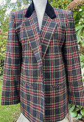 Vintage 90andrsquos Sag Harbour Red And Grey Plaid Wool Blazer W Velvet Collar- Sz 8 Nwt