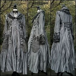 Quirky Pewter Grey Taffeta Corset Frock Coat 16 18 20 Steampunk Gothic Lagenlook