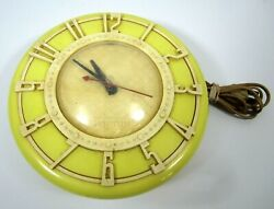 Mid Century Old Yellow Spartus Working Vintage Electric Wall Clock Usa Made