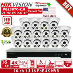Hikvision 4k Security Cctv System 16ch Nvr Poe Full Time Color 8mp Mic Ip Camera