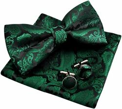 Alizeal Mens Classic Paisley Bow Tie, Hanky And Cufflinks Set