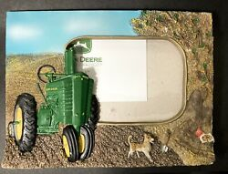 """John Deere Tractor Dog Picture 4"""" X 6"""" Photo Frame 3d Resin Tabletop Displays"""