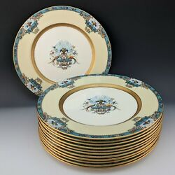 Lenox China Fountain Peacock Dinner Cabinet Plates A331a Lowell Center P67 C1926