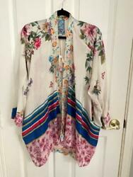Johnny Was Shae Embroidered Silk Kimono Open Front Floral Print M 298