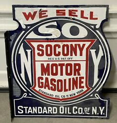 Socony Standard Oil Porcelain Gas Sign Flanged Double Sided